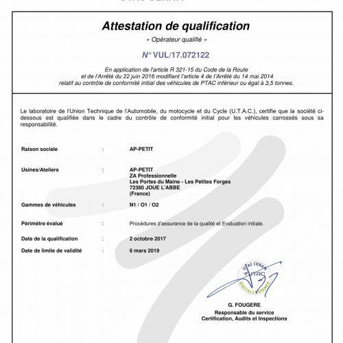 Attestation de qualification